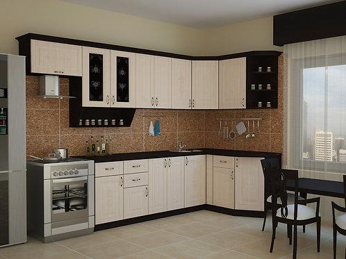 Угловая кухня Беларусь 3  верх: 3200*736*1465 низ: 2600*860*1465