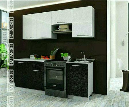 Кухня Олива 2,10 черный металлик