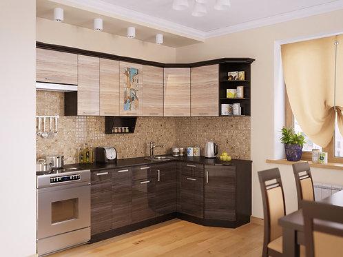 Угловая кухня Венеция 1 верх: 2600*736*1465 низ: 2000*860*1465