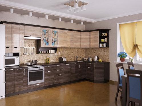 Угловая кухня Венеция 5 верх: 3950*1340*1465 низ: 3950*860*1465