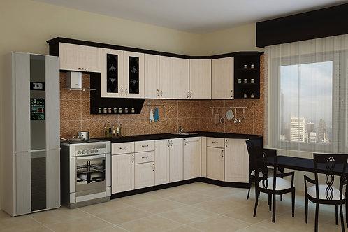 Угловая кухня Беларусь 2 верх: 3000*736*1465 низ: 2400*860*1465