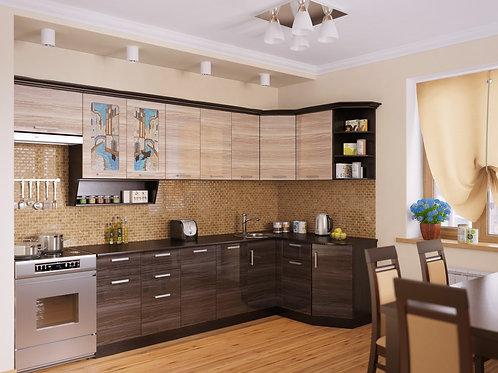 Угловая кухня Венеция 3  верх: 3200*736*1465 низ: 2600*860*1465