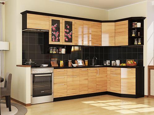 Угловая кухня Сакура 3  верх: 3200*736*1465 низ: 2600*860*1465