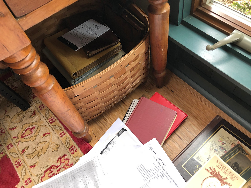 Large basket where I stored my genealogy materials