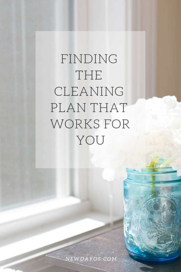 """a mason jar containing white flowers beside a window with an overlay stating """"finding the cleaning plan that works for you"""""""