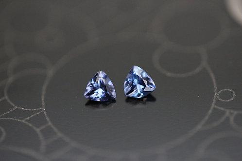 Très rares bénitoïtes (Paire) - 0,26 carat - Californie, USA