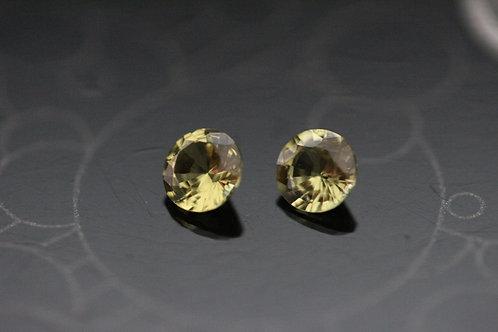 Paire de saphirs jaunes non chauffés - 0.68 carat - Madagascar