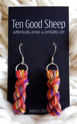 Hand Dyed Yarn Skein Earrings