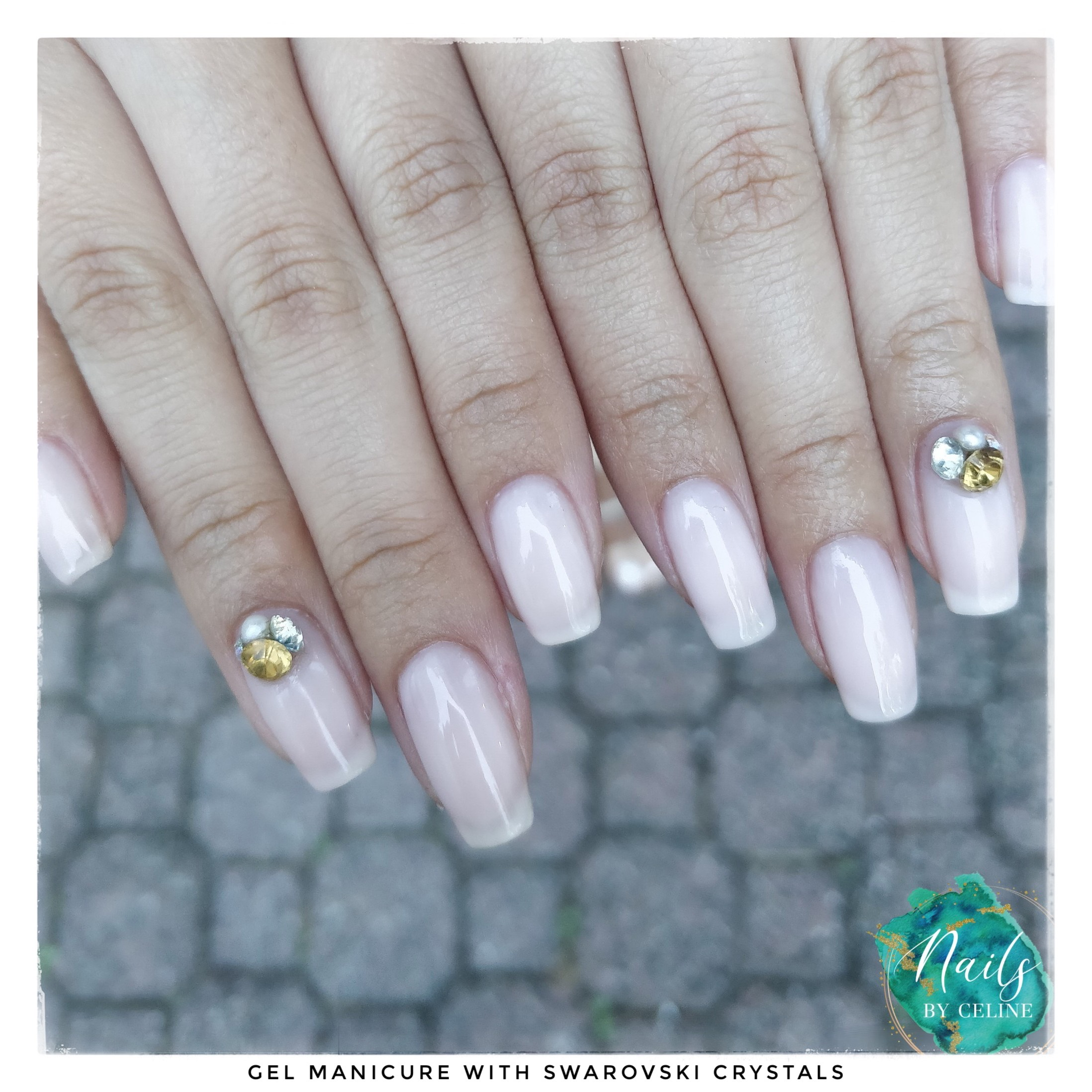 gel manicure with swarovski crystals
