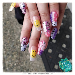 apres gel x with handpainted art