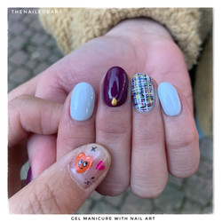 gel manicure with nail art