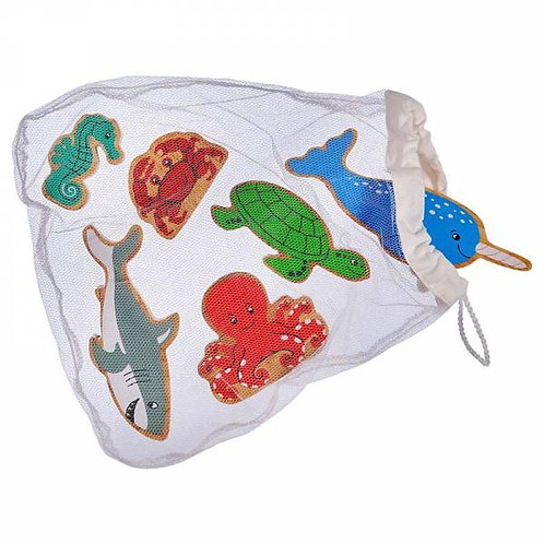 Wooden Sealife Animals - Bag of 6