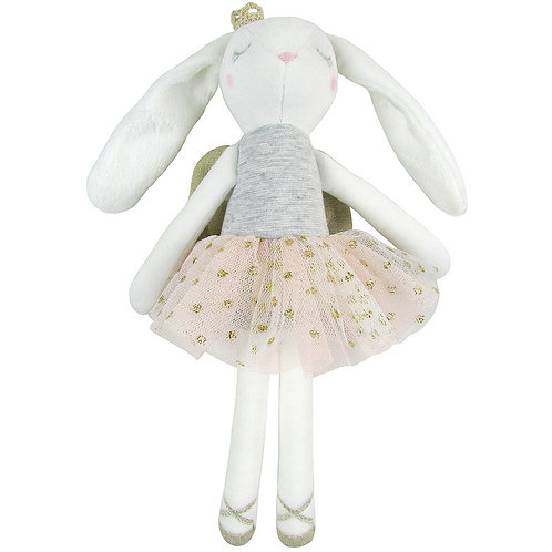 White Cotton Velvet Ballerina Bunny