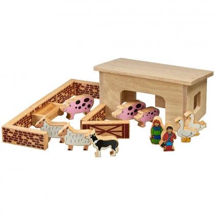 Lanka Kade Pig & Sheep Barn Set with Colourful Figures