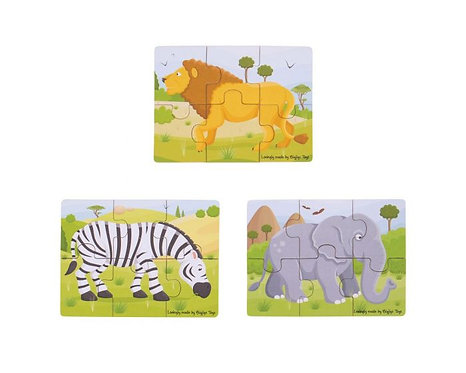 6-Piece Wild Animal Jigsaw Puzzle Set
