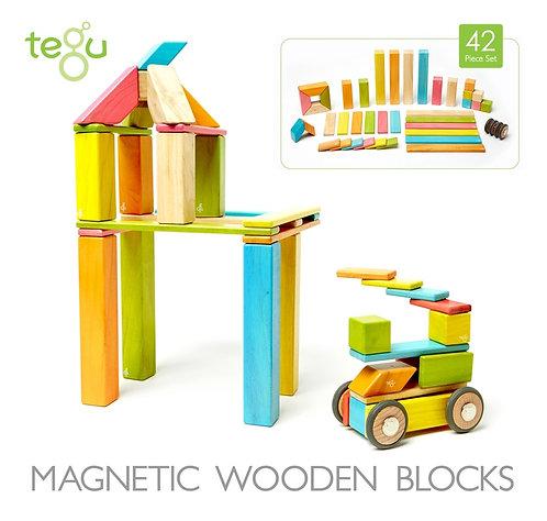 42 piece Tegu Magnetic Wooden Building Block Set