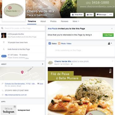 Capa e postagem de Facebook  para Cheiro Verde MIx Alimentos