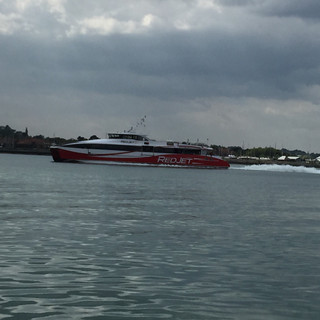 Red Jet going down Southampton Water