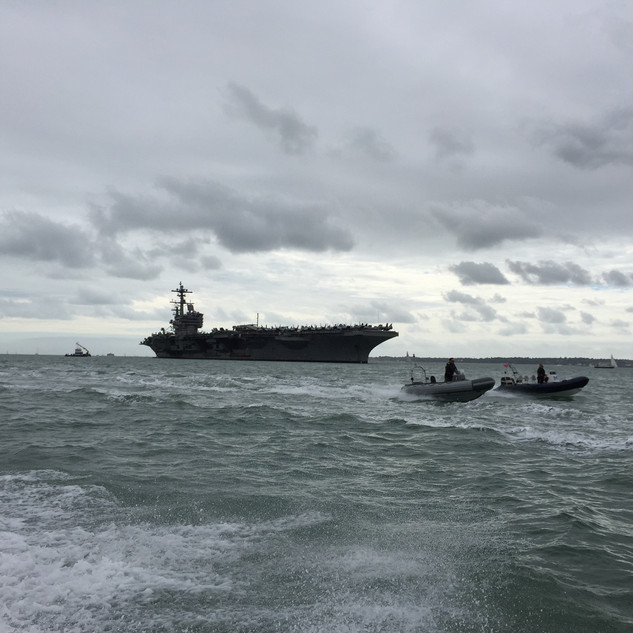 The USS George Bush out in The Solent