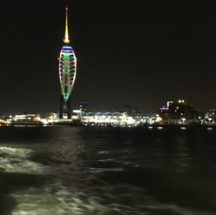 Spinnaker Tower at Gunwharf Quays at night