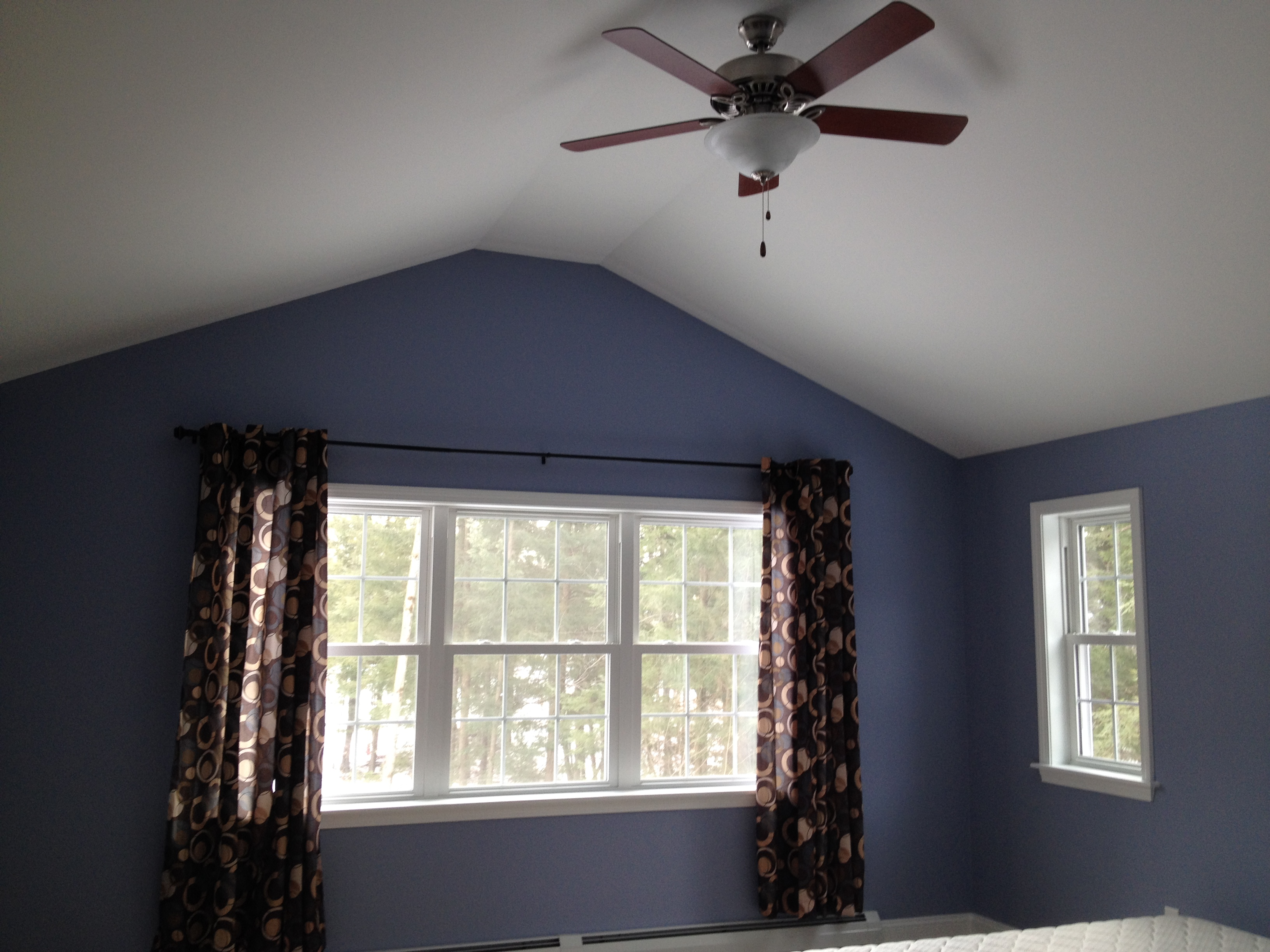 Vaulted ceiling with fan