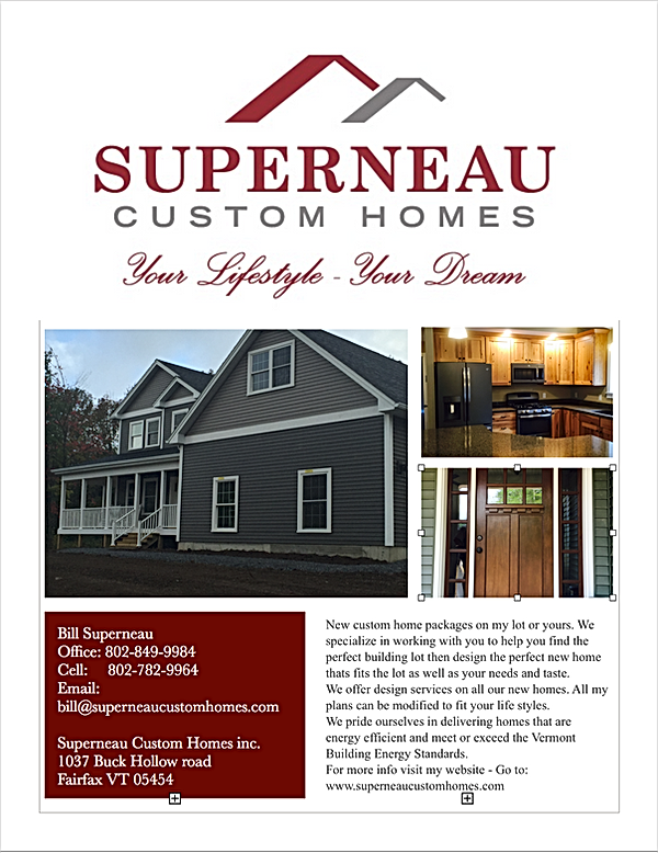 Superneau Custom Homes Sales Flyer