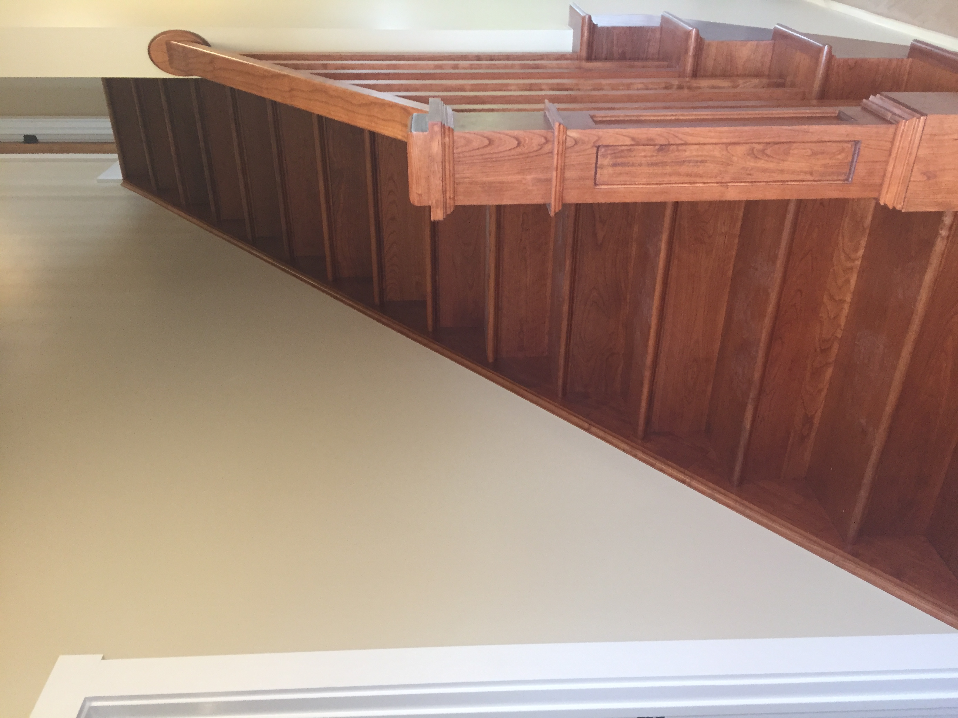 Cherry staircase with rail