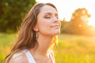 Blissful woman taking a moment for hersel