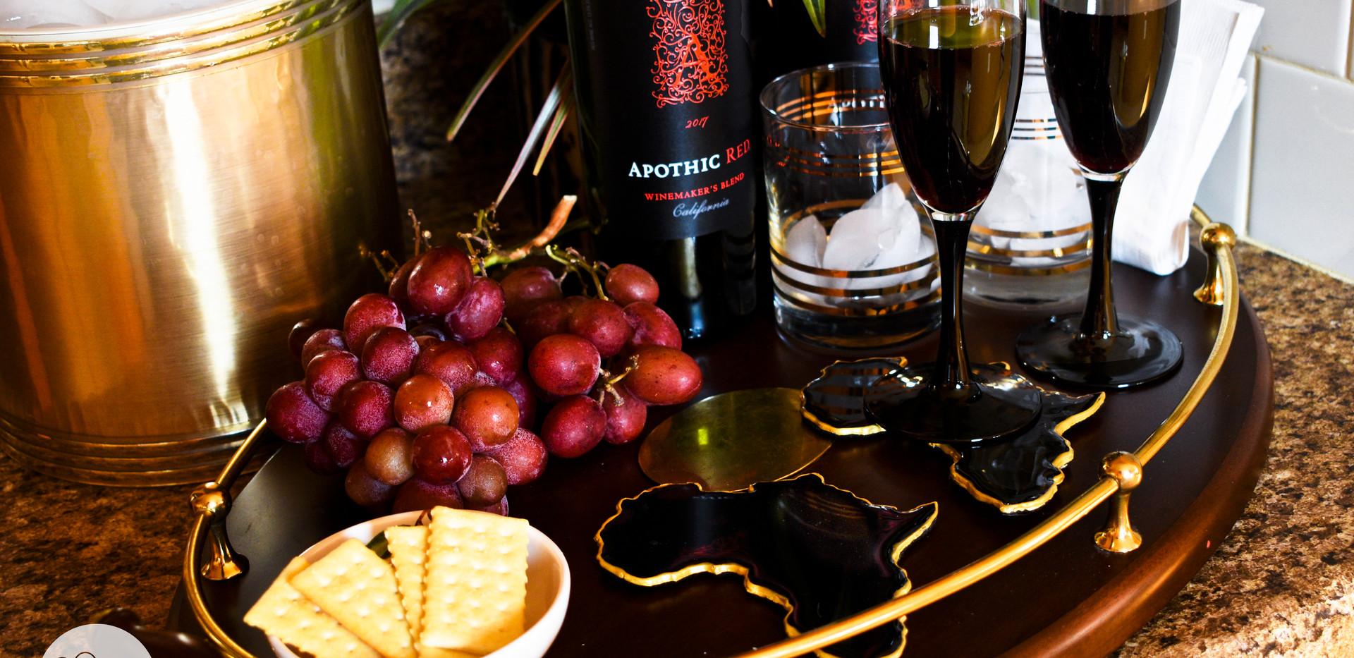 Rain Sky Home Black Coasters with Wine G
