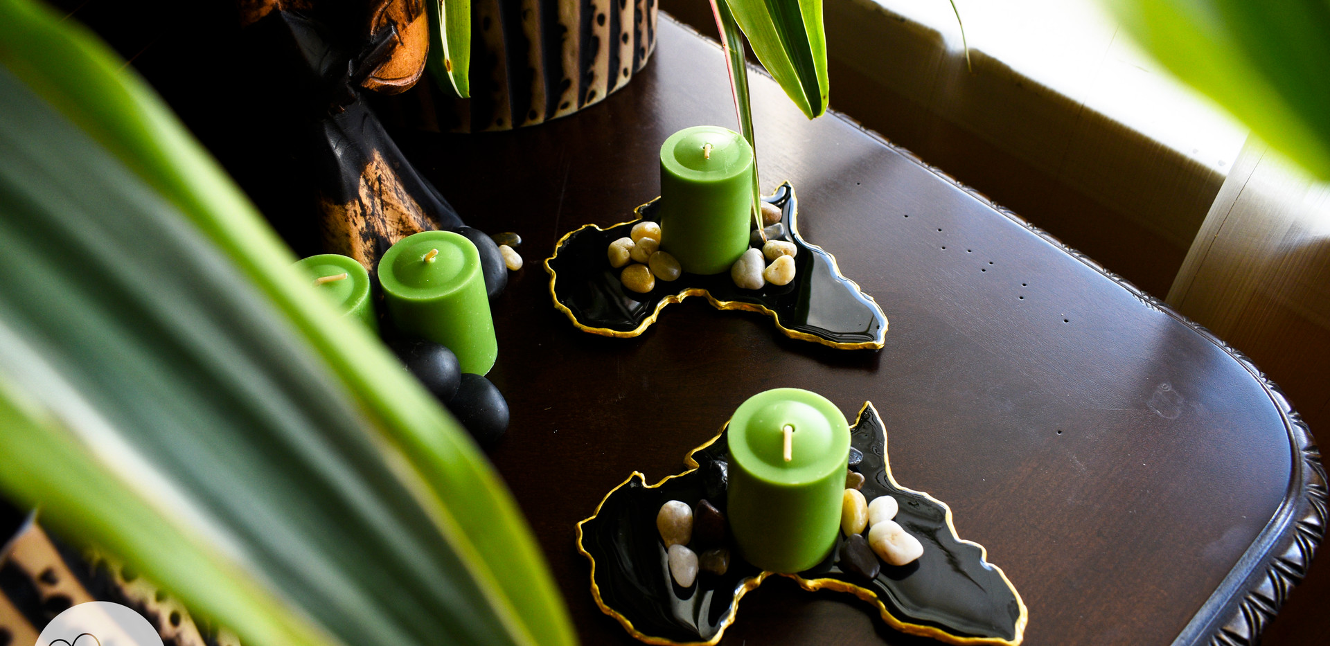 Rain Sky Home Black Coasters with Candle
