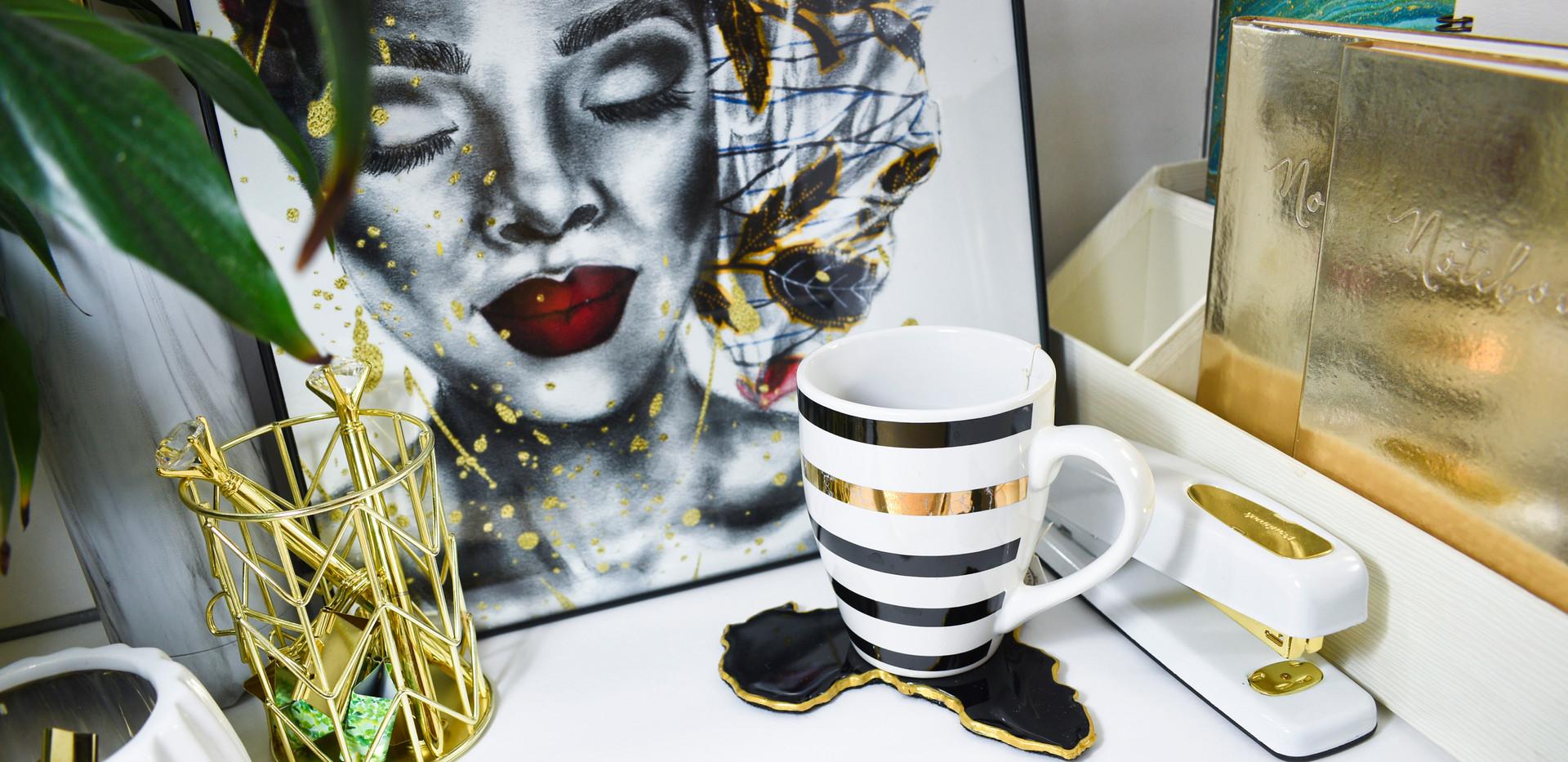 Rain Sky Home Black Coasters with Art by
