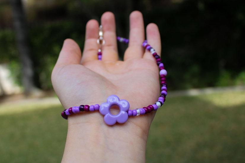 Purple Flower Choker
