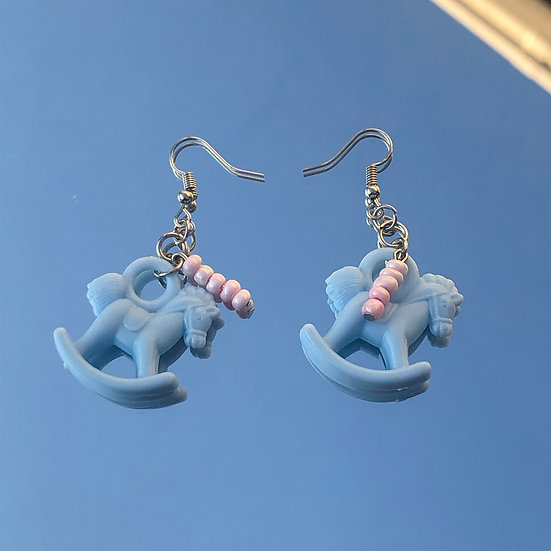 Blue Horsey Earrings