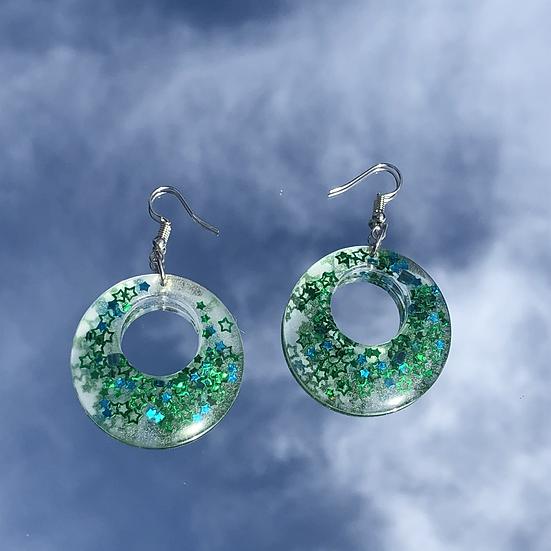 Green & Blue Star Glitter Hoops