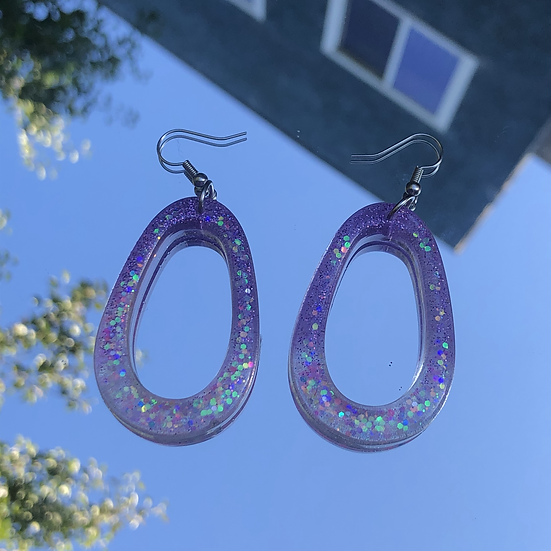 Sparkly Oval Hoops