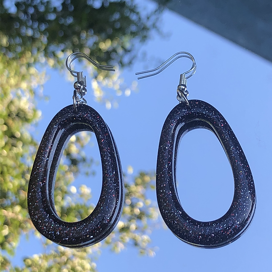 Sparkly Black Oval Hoops