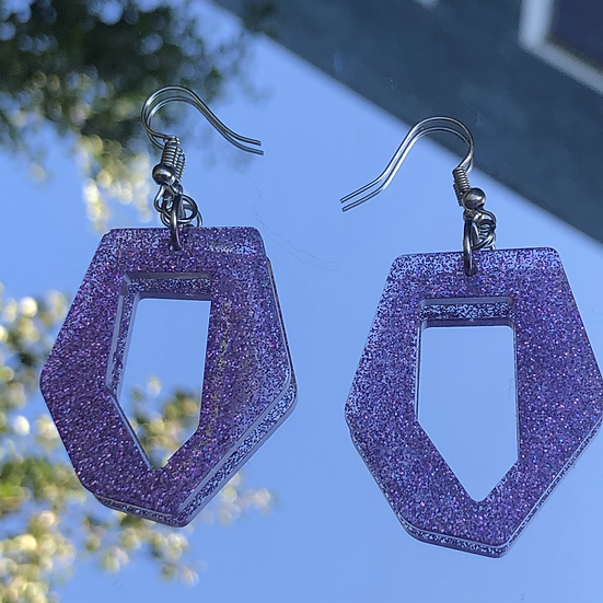 Purple Sparkly Abstract Earrings
