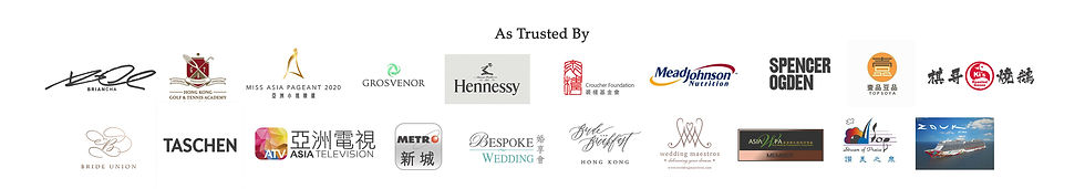 Trusted By Clients including Hennessy, Miss Asia, Hong Kong Golf & Tennis Academy, Bride & Breakfast, Bespoke Wedding, Asia WPA Award Winning