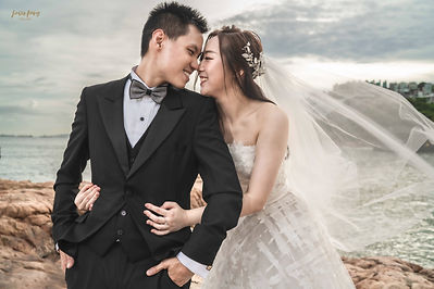 Wedding Photography in HK of happy couple on a beach