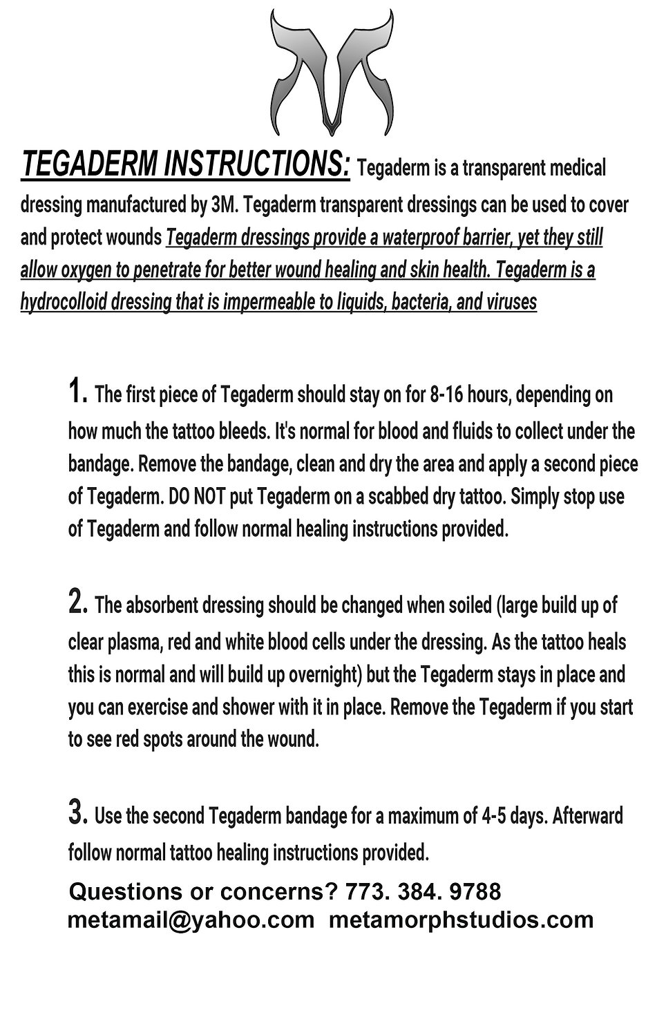 Tegaderm Instructions tattoo
