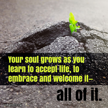 Soul grows as you accept life.