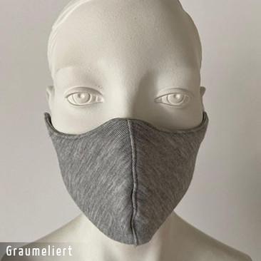 Gesichtsmaske - Baumwollmaske im T-Shirt Stoff - Graumeliert
