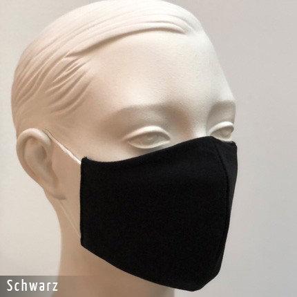 Stoffmaske im T-Shirt Stoff - Schwarz