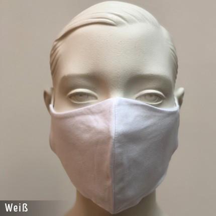Gesichtsmaske - Baumwollmaske im T-Shirt Stoff - Weiss