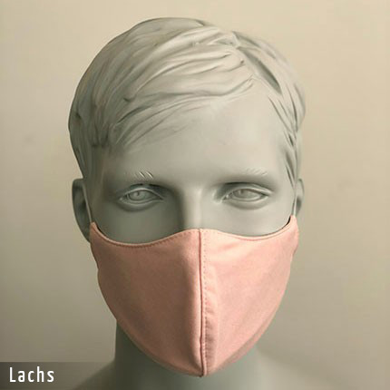 Gesichtsmaske - Baumwollmaske im T-Shirt Stoff - Lachs