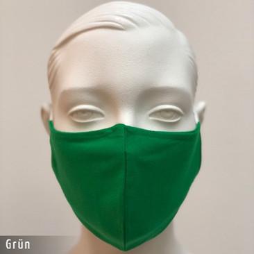 Gesichtsmaske - Baumwollmaske im T-Shirt Stoff - Gruen