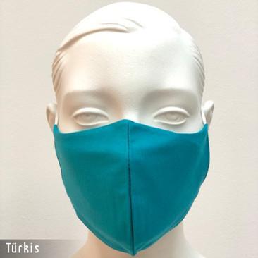 Gesichtsmaske - Baumwollmaske im T-Shirt Stoff - Türkis