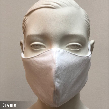 Gesichtsmaske - Baumwollmaske im T-Shirt Stoff - Creme