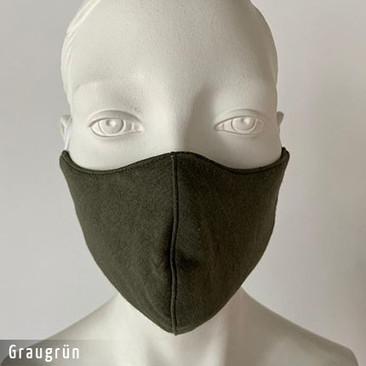 Gesichtsmaske - Baumwollmaske im T-Shirt Stoff - Graugrün