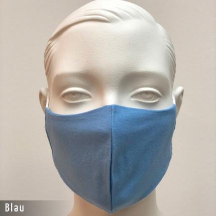 Gesichtsmaske - Baumwollmaske im T-Shirt Stoff - Blau